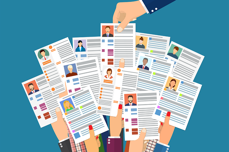 Hands holding cv resume documents. Manager chooses the right candidate. Human resources management, searching professional staff, work. Found right resume. Vector illustration in flat style